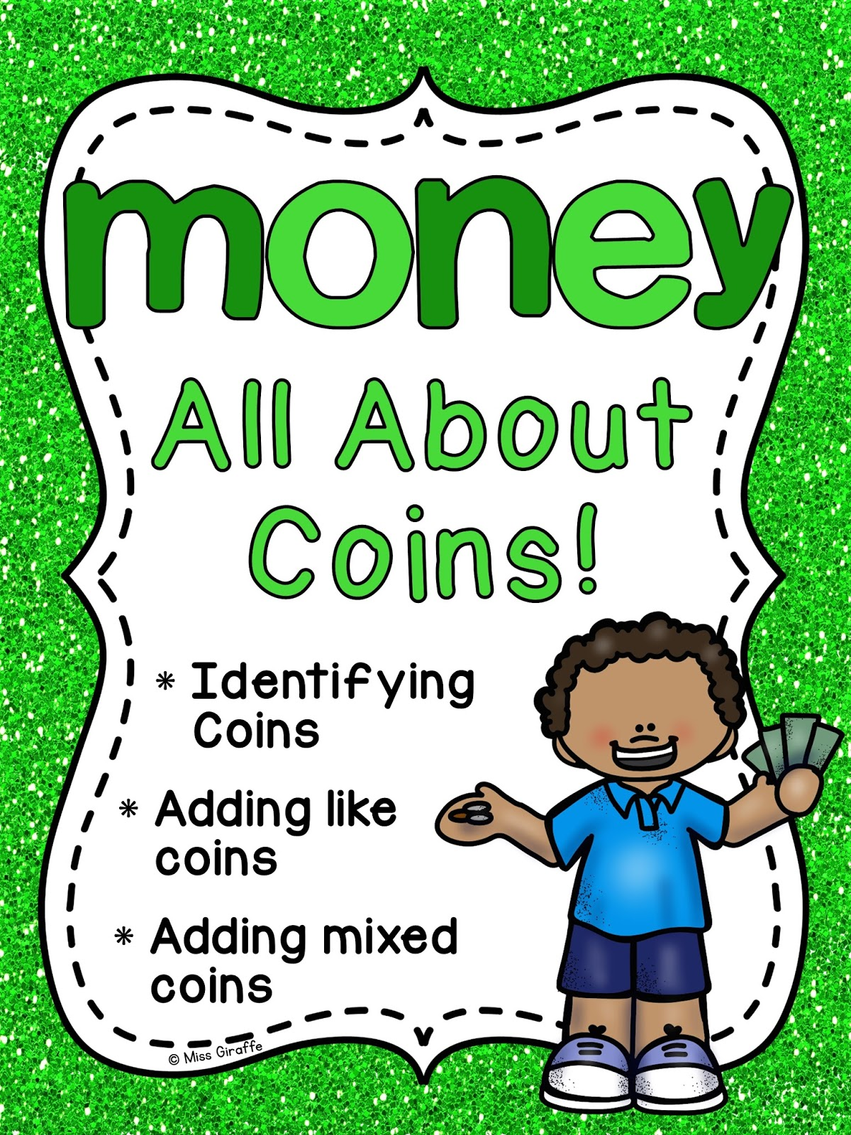 Miss Giraffes Class Math – Coin Worksheets for Kindergarten