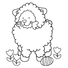 Easter Lamb Eat Flower Coloring Pages