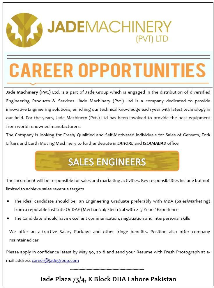 Sales EngineersJobs in Jade Group  Apply via Email