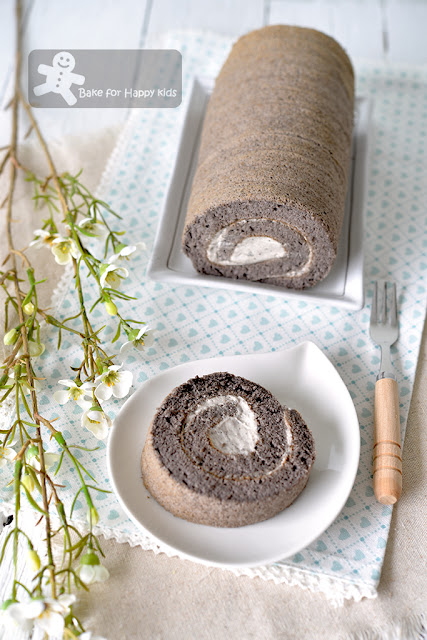 best black sesame chiffon Swiss roll