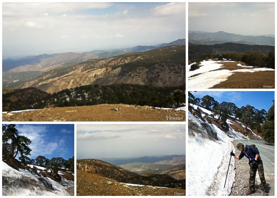 Kolaż zdjęć z Gór Troodos z pozostałością zamarzniętego śniegu.