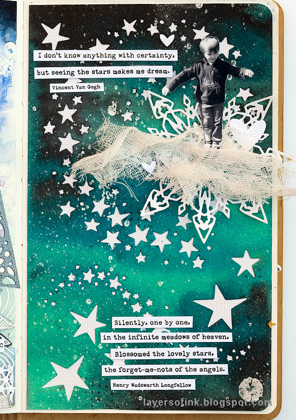 Layers of ink - Misted Galaxy Tutorial by Anna-Karin Evaldsson, with ink mists and resist spray.