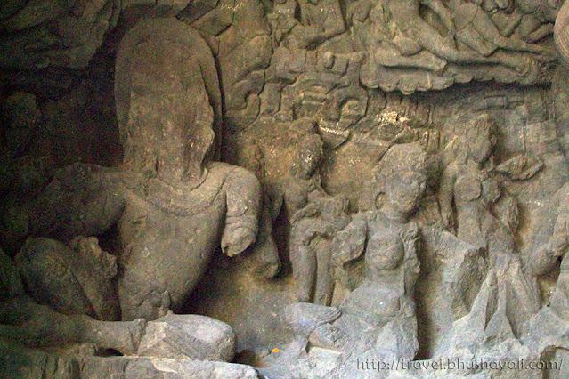 Caves of elephanta sculptures Uma sahitha Shiva