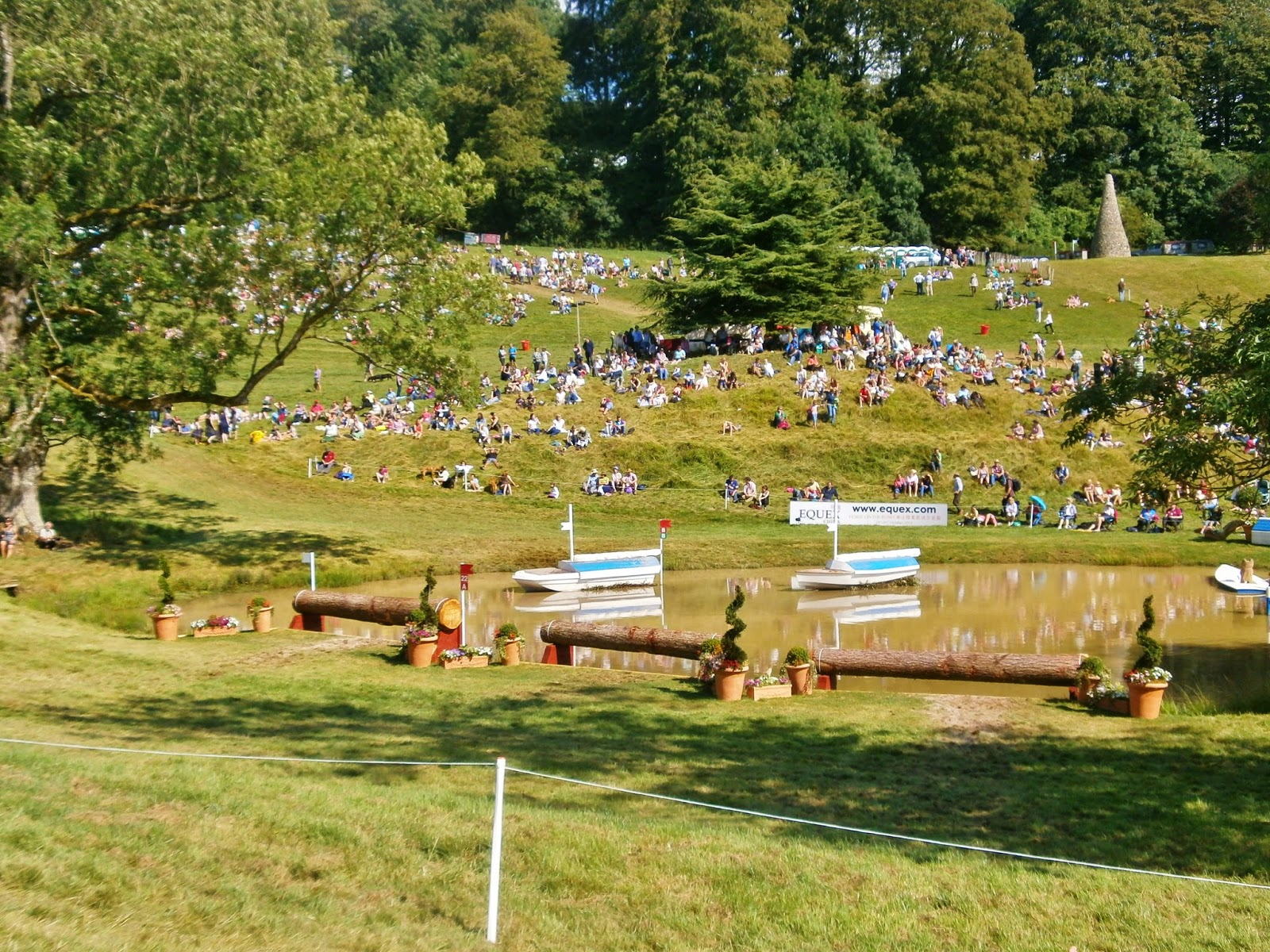 Water jump at Gatcombe Festival of Eventing