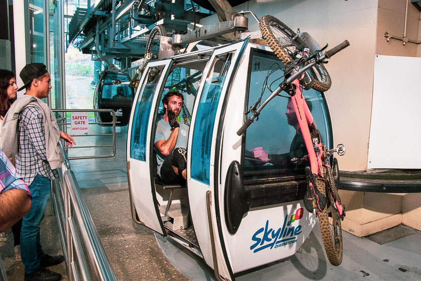 Queenstown's gondola ropeway, with off-road cyclists.