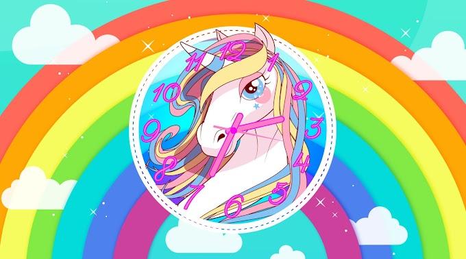 Beautiful Unicorn Windows Clock Screensaver
