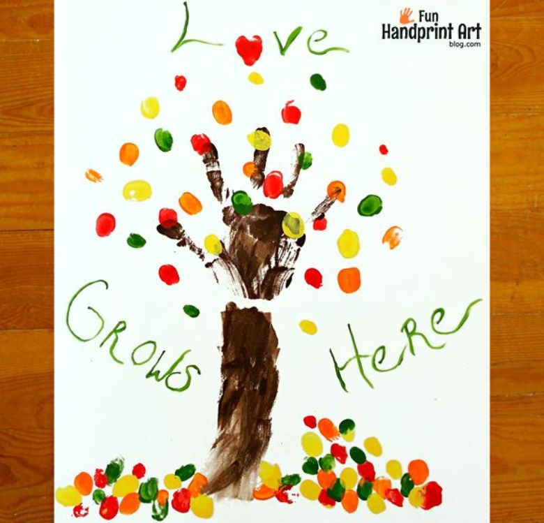 family fingerprint tree keepsake autumn craft for kids