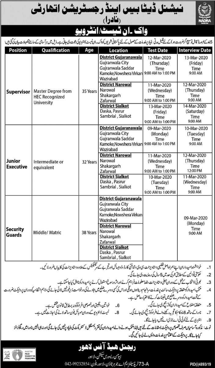 NADAR Jobs 2020 - Latest NADRA Jobs for Males & Females in Different Cities of Punjab