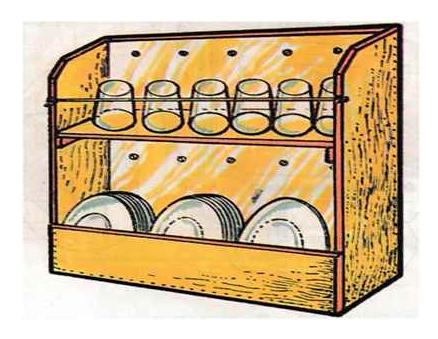 Rak Dinding Tempat Gelas dan Piring Minimalis