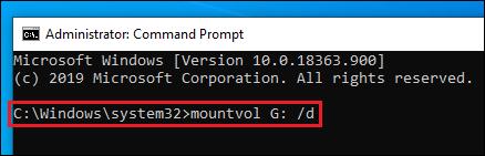 mountvol G: /d