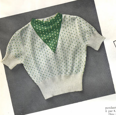 The Vintage Pattern Files: Free 1930's Knitting Pattern - Sweater Pointillé (French)