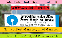 State Bank of India Recruitment 2018 – 121 Manager, Chief Manager