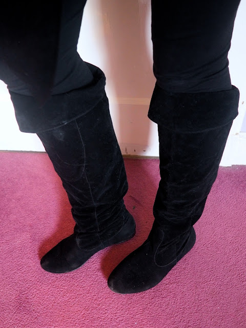 Mystical Mischief - outfit shoe details of knee high black suede boots