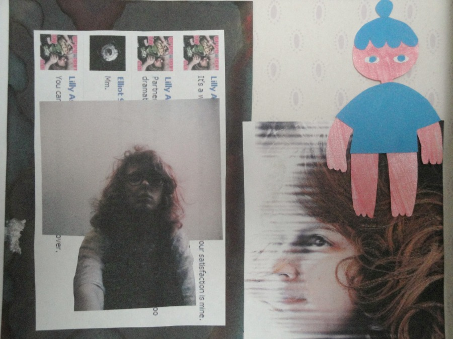 Part of my wall's collage, including a Facebook screenshot, paper doll cut-out, and two pictures of myself.
