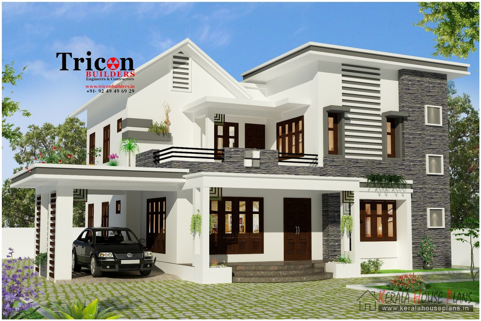 4 bedroom modern house design 2355 kerala house for House designers house plans