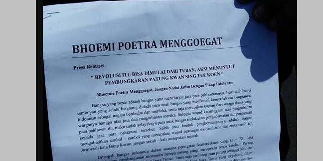 50 Ormas Tuntut Bongkar Patung Jenderal Cina di Tuban, Banser & GP Ansor Tidak Ikut!