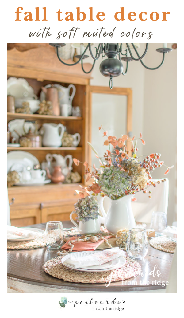 fall table and hutch with soft colors and textures