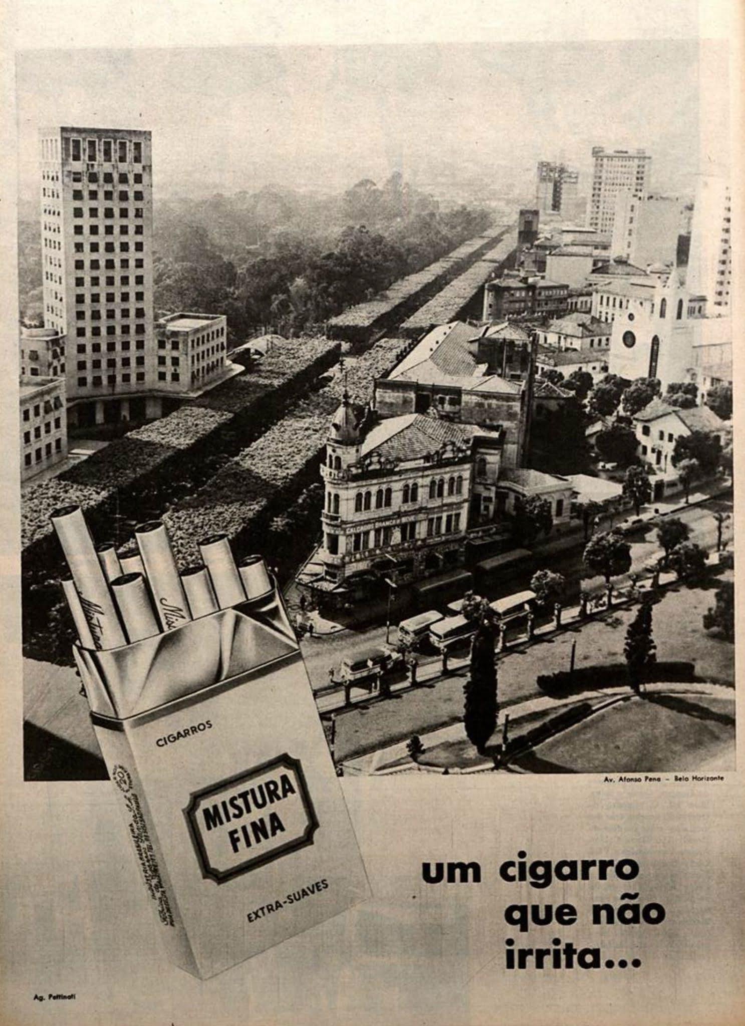 Anúncio antigo dos Cigarros Mistura Fina apresentando a cidade de Belo Horizonte em 1964