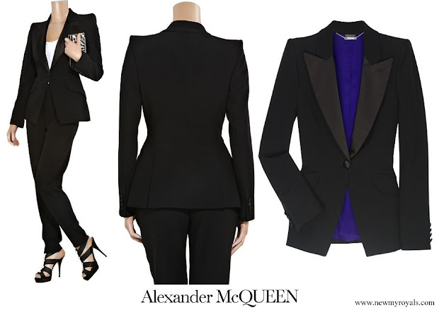 Kate Middleton wore ALEXANDER MCQUEEN Leaf tailored crepe tuxedo jacket