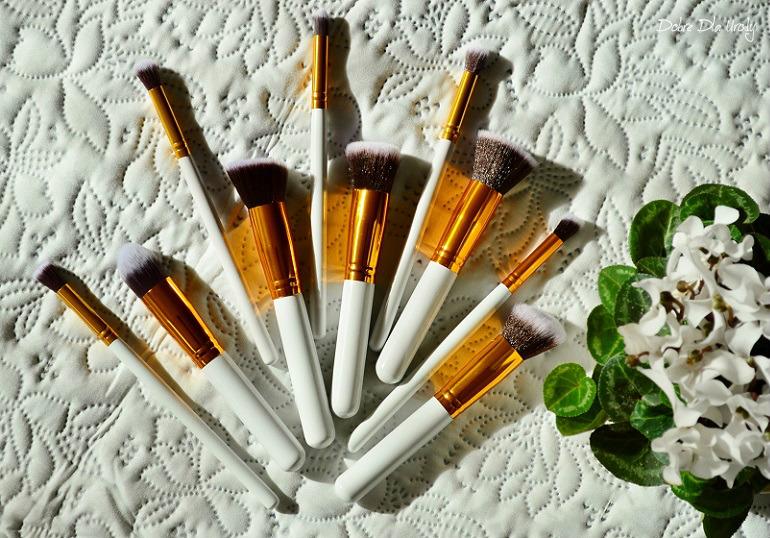 10Pcs White Foundation Makeup Tools Cosmetic Brushes Set Kit - rcenzja