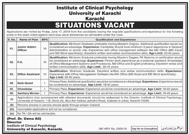 ➨ #Jobs - #Career_Opportunities - #Jobs - Institute od Clinical Psychology Universiry of Karachi - Last date is 17 June 19
