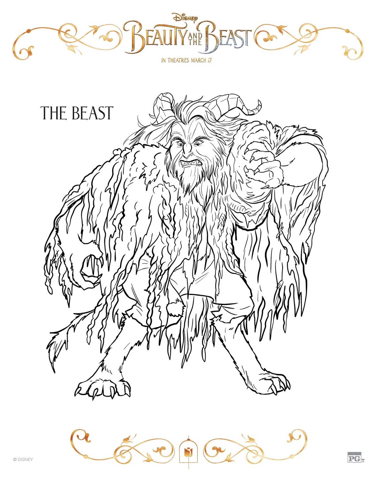 10 Free Beauty and the Beast Coloring