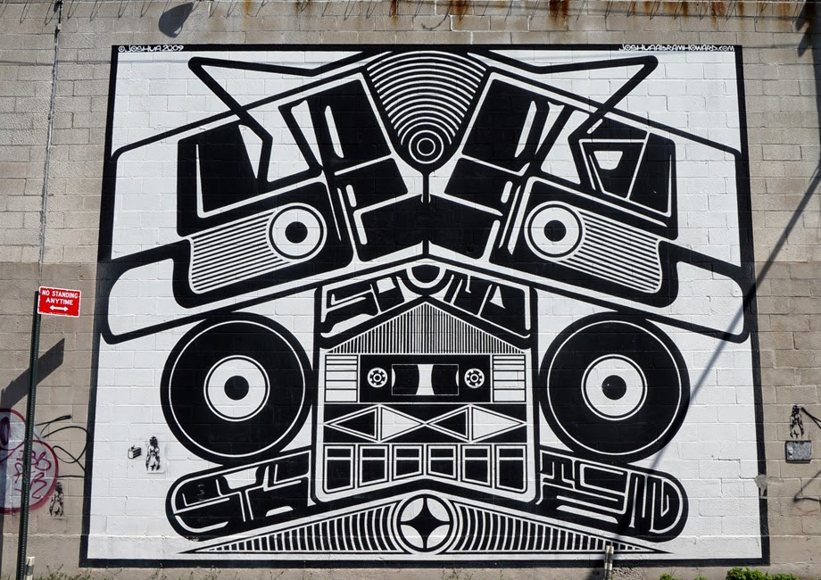 Mural of an abstract sound system inspired by Native American potlatch ritual