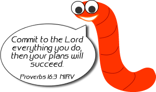 Wally Worm w/bible verse