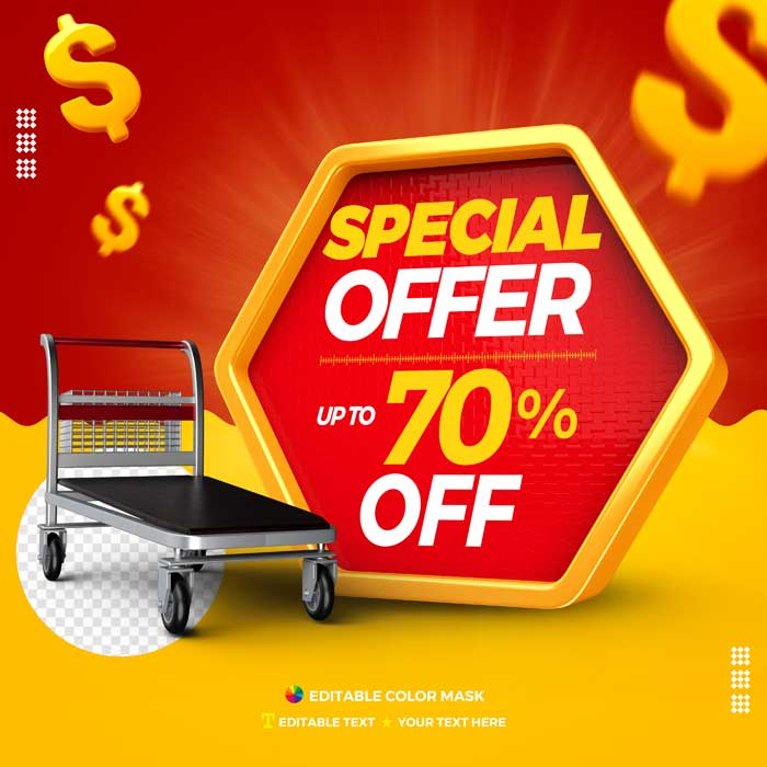 Special Offer 3D Text Box With Cargo Trolley