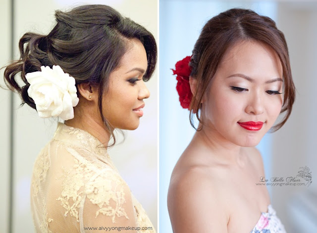red flower to the side, red lip bride