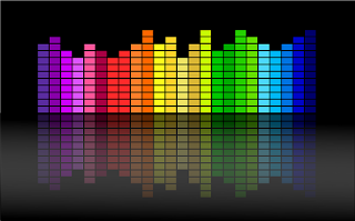 Logotipo de ecualizador con colores.