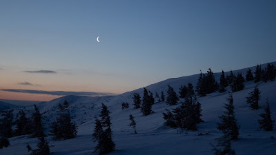 Free winter beautiful Sunset Moon wallpaper