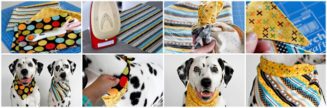 Step-by-step sewing a reversible dog bandana and different options to tie for wear