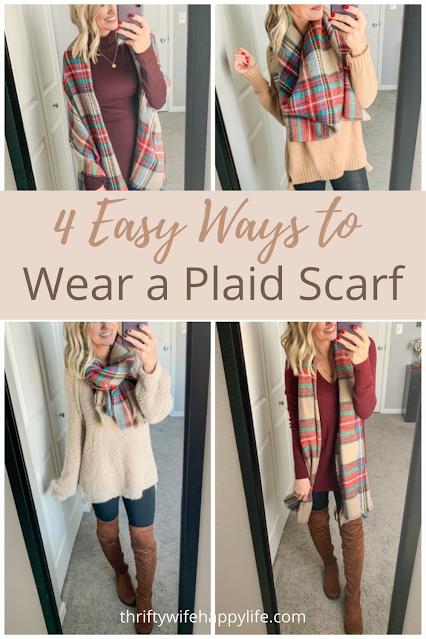 4 ways to wear a plaid scarf