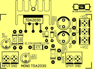PCB Layout Power Amplifire TDA 2030 Versi standard