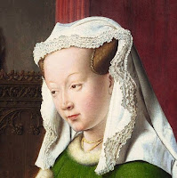 Costanza Trenta's hairstyle in the Arnolfini Portrait by Jan van Eyck, depicted with scarf or veil to imply she is married