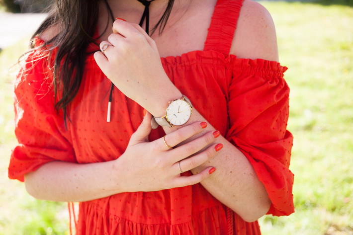 Outfit: H&M red off shoulder dress, Cluse watch