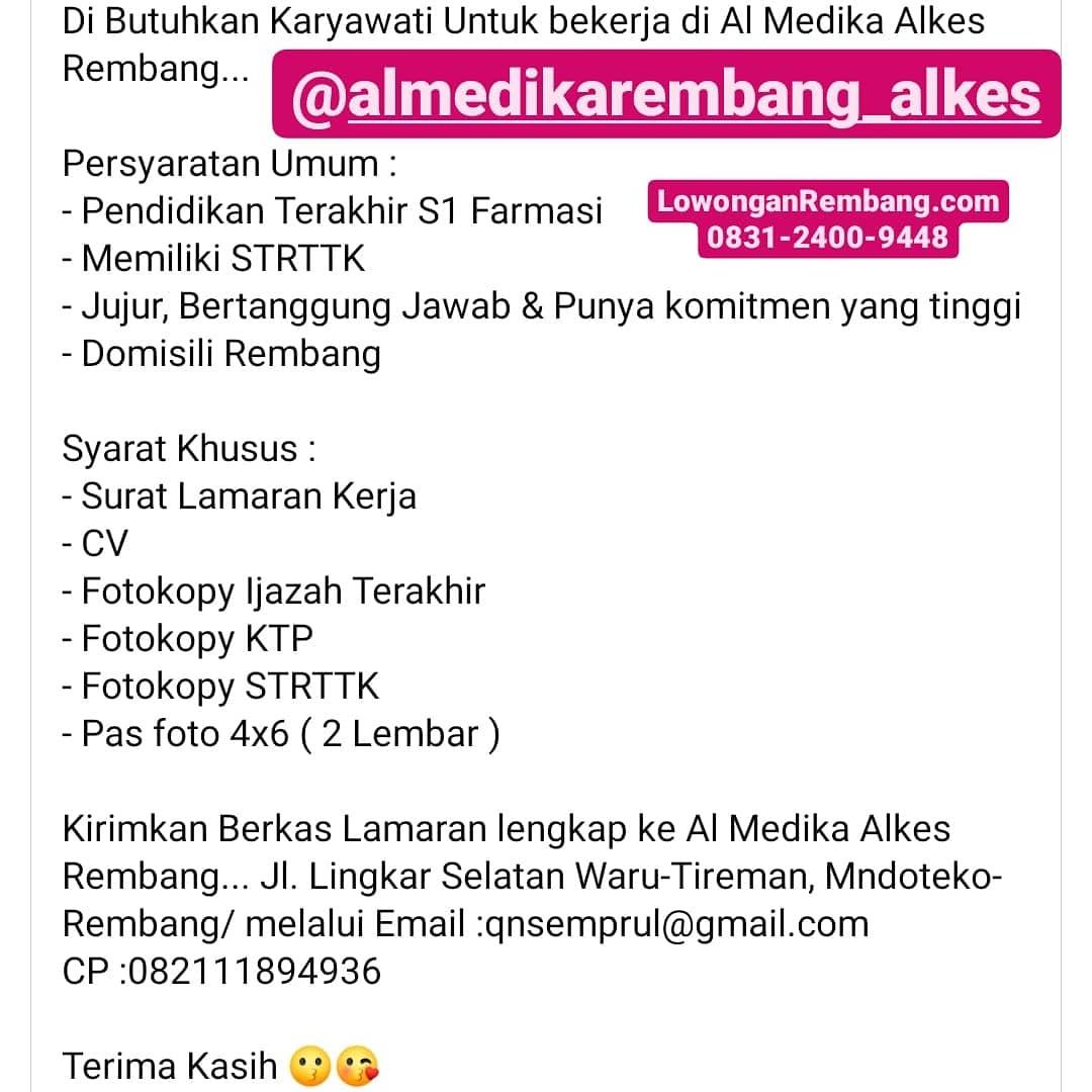Lowongan Kerja Karyawati Al Medika Toko Alat Kesehatan Desa Mondoteko Kecamatan Rembang Kabupaten Rembang