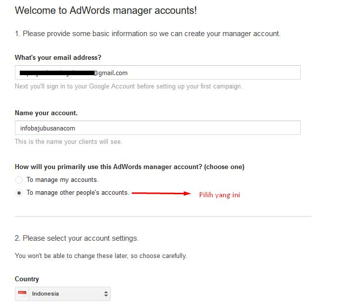 Tampil tulisan Welcome-to-adwords-manager-account