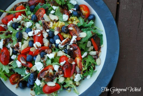 Summer Kale Salad with Blueberry Balsamic Vinaigrette (The Gingered Whisk)