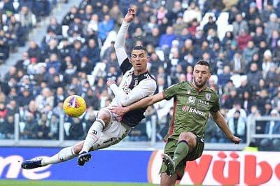 Cristiano Ronaldo anota el 'hat trick' de la Segunda mitad Contra Cagliari