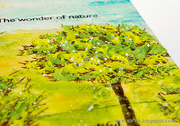 Layers of ink - Spring Canvas Mixed Media Tutorial by Anna-Karin Evaldsson. With Simon Says Stamp All Seasons Tree and Forest Scenery stamp sets.