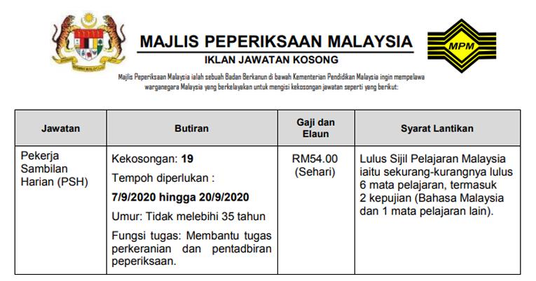 Jawatan Kosong Terkini Majlis Peperiksaan Malaysia Mpm Kerja Kosong Kerajaan Swasta