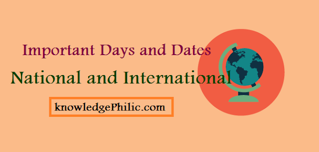List of Important National and International days and dates download pdf