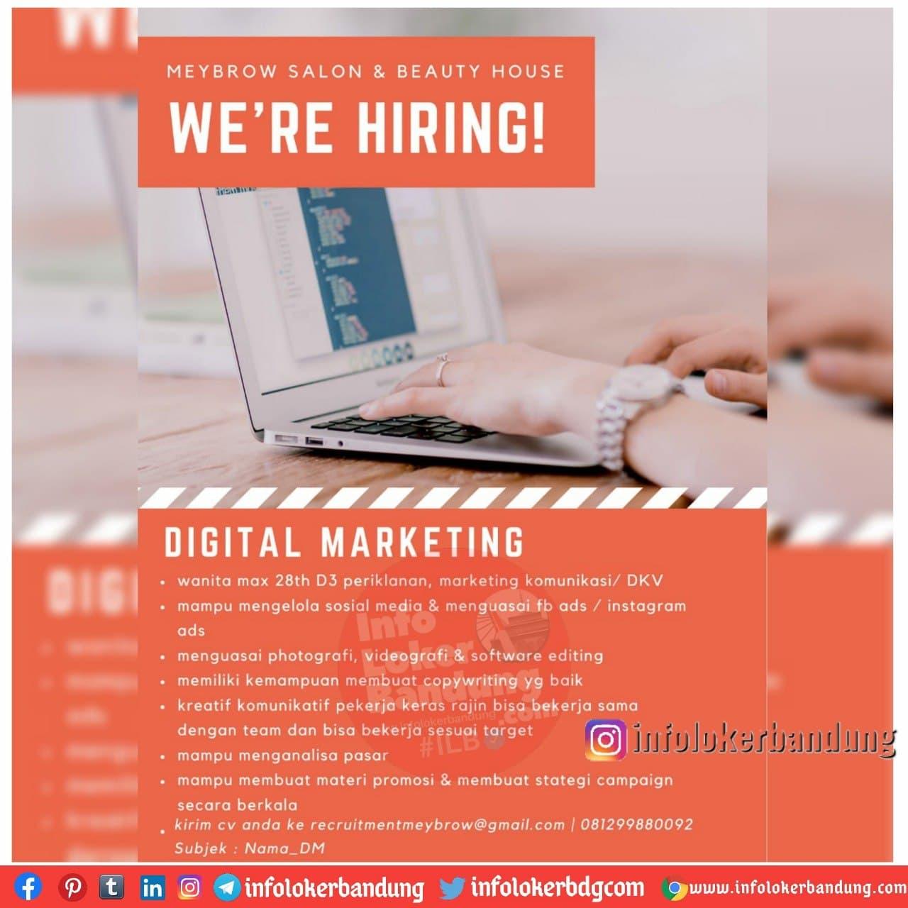 Lowongan Kerja Digital Marketing Meybrow Salon & Beauty House Bandung Desember 2020