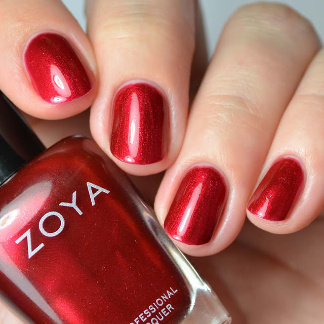 ruby red shimmer nail polish
