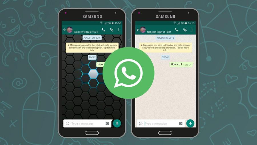 Mengganti background tema chat whatsapp dengan foto di hp