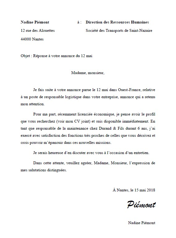 exemple lettre de motivation manuscrite ou pas exemple de lettre