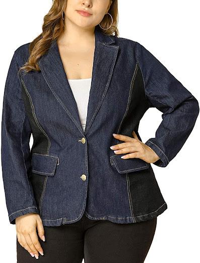 Denim Plus Size Blazers For Women
