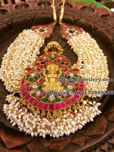 Pearls Set with Kundan Pendant in Silver Metal